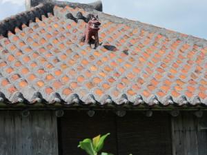 屋根にはシーサーがいます