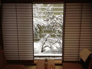 旅館の部屋からの雪景色